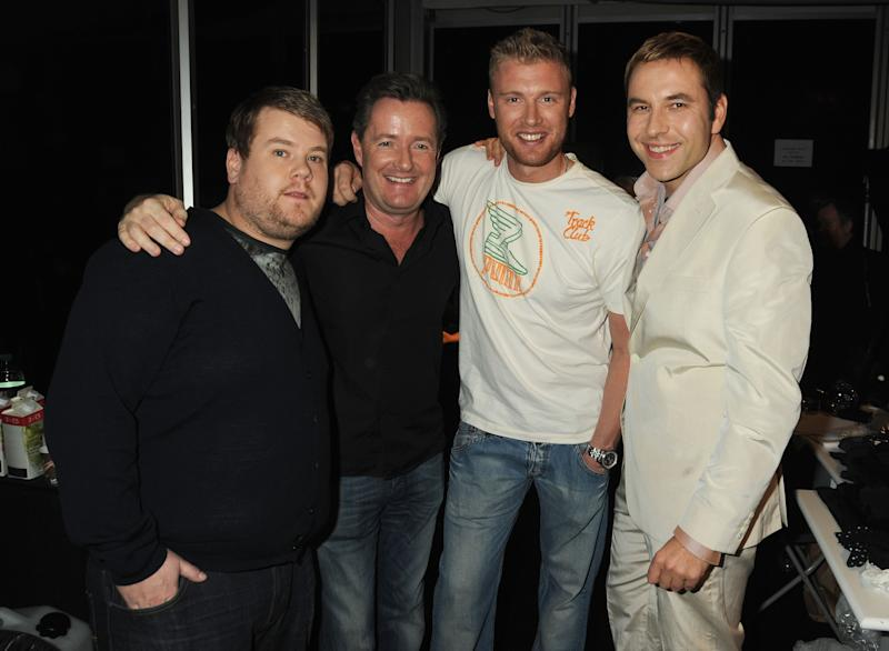 LONDON, ENGLAND - FEBRUARY 18: (L-R) James Corden, Piers Morgan, Andrew Flintoff and David Walliams pose backstage during Naomi Campbell's Fashion For Relief Haiti London 2010 Fashion Show at Somerset House on February 18, 2010 in London, England. (Photo by Dave M. Benett/FFR/Getty Images)
