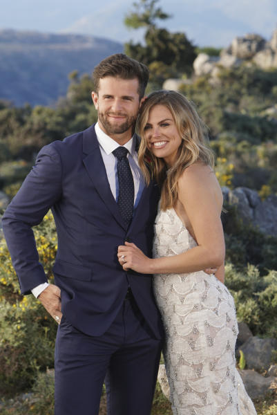 "This image released by ABC shows Jed Wyatt, left, and Hannah Brown from the season finale of ""The Bachelorette."" On Tuesday's finale, viewers saw Brown get engaged to Jed Wyatt. Their happiness was short-lived because the day after their engagement she learned he had a girlfriend when he joined the show. Cameras rolled as she confronted him for more information. (Mark Bourdillon/ABC via AP)"