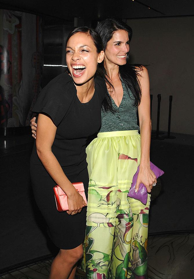 """Actresses Rosario Dawson, wearing Prada and Angie Harmon, wearing Prada, attend the Los Angeles screening of """"Trembled Blossoms"""" presented by Prada on March 19, 2008 in Beverly Hills, California. Prada Presents Trembled Blossoms LA Prada Beverly Hills, California United States March 19, 2008 Photo by John Shearer/WireImage.com To license this image (15664523), contact WireImage.com"""