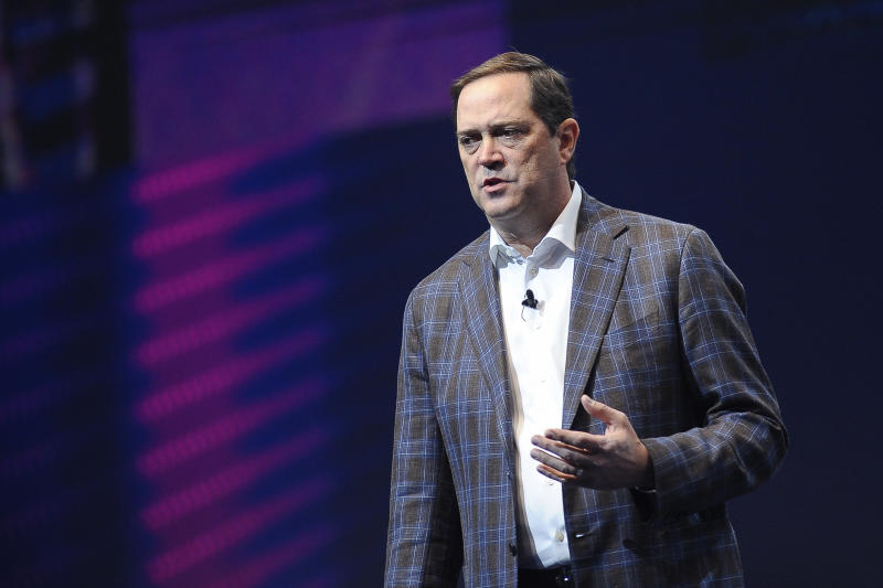 Chuck Robbins , Cisco CEO, held a conference about The Next Generation, during the Mobile World Congress, on February 27, 2019 in Barcelona, Spain. (Photo by Joan Cros/NurPhoto via Getty Images)