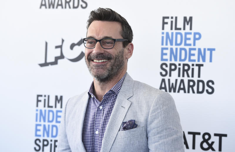 Jon Hamm arrives at the 34th Film Independent Spirit Awards on Saturday, Feb. 23, 2019, in Santa Monica, Calif. (Photo by Jordan Strauss/Invision/AP)