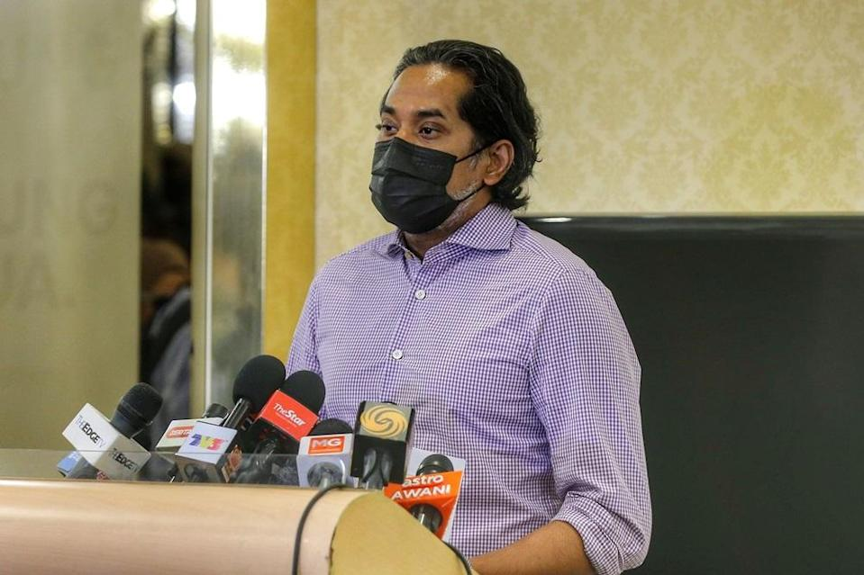 Minister of Science, Technology and Innovation Khairy Jamaluddin speaks to the press during a visit to the Covid-19 vaccination centre at the World Trade Centre Kuala Lumpur May 5, 2021. ― Picture by Ahmad Zamzahuri