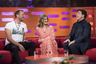 (left to right) Chris Martin, Rosamund Pike and Michael McIntyre during the filming of the Graham Norton Show at The London Studios, south London, to be aired on BBC One on Friday evening.