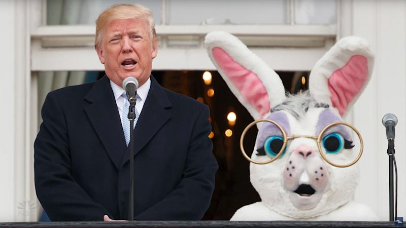 Some bunny better talk sense into this guy. (Photo: NBC and YouTube)