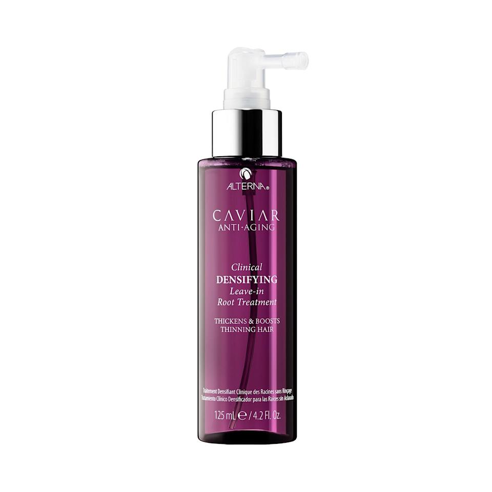 """<p>This leave-in treatment works to stimulate your scalp and give your hair the thickness and density it tends to lose as we get older. The result: Fuller, stronger hair. </p> <p><strong>BUY IT: $38; <a href=""""https://click.linksynergy.com/deeplink?id=93xLBvPhAeE&mid=2417&murl=https%3A%2F%2Fwww.sephora.com%2Fproduct%2Fcaviar-clinical-daily-root-scalp-stimulator-P309412%3Ficid2%3Dproducts%2520grid%3Ap309412&u1=SL%2CRX_1907_Anti-AgingHairProducts_AlternaRootTreatment%2Ckyarborough1271%2C%2CIMA%2C622538%2C201907%2CI"""" target=""""_blank"""">sephora.com</a></strong></p>"""