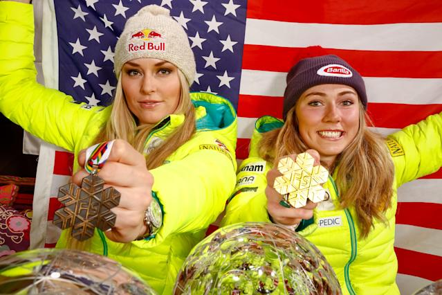 <p>Mikaela grew up idolizing Lindsey Vonn, but has stood on the same podium with the American skiing legend just once, despite a combined 193 top-three finishes in World Cup events. The lone instance? Jan. 19, in a downhill at Cortina d'Ampezzo, Italy, wherein Vonn and Shiffrin finished second and third, respectively. </p>