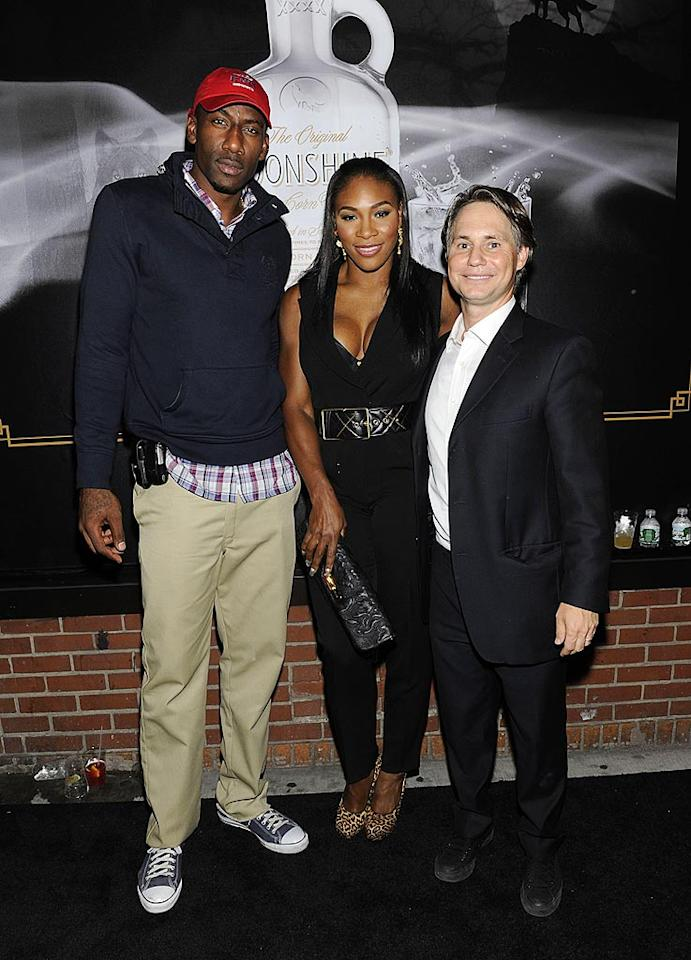 "Serena Williams hobknobbed with New York Knick Amare Stoudemire (left) and magazine publisher Jason Binn (right) at the John Varvatos 10th anniversary bash. Eugene Gologursky/<a href=""http://www.wireimage.com"" target=""new"">WireImage.com</a> - September 11, 2010"