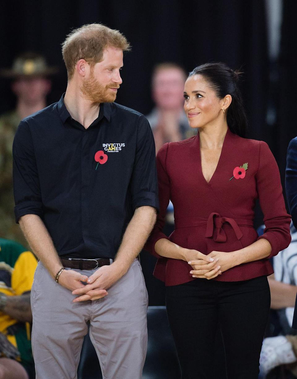 <p>The couple gazed into each other's eyes as they celebrated the final days of the Invictus Games in Australia </p>