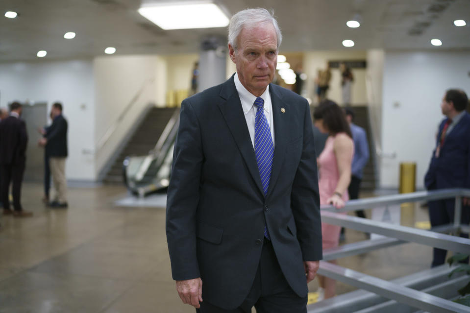 Sen. Ron Johnson, R-Wis., an ally of former President Donald Trump, arrives as senators go to the chamber for votes ahead of the approaching Memorial Day recess, at the Capitol in Washington, Thursday, May 27, 2021. Senate Republicans are ready to deploy the filibuster to block a commission on the Jan. 6 insurrection, shattering chances for a bipartisan probe of the deadly assault on the U.S. Capitol and reviving pressure to do away with the procedural tactic that critics say has lost its purpose. (AP Photo/J. Scott Applewhite)