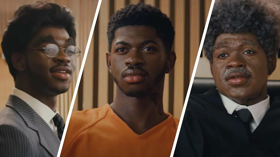 Lil Nas X plays the judge, lawyers, and himself in a teaser for his upcoming Kanye West-produced single. (Courtesy: YouTube)