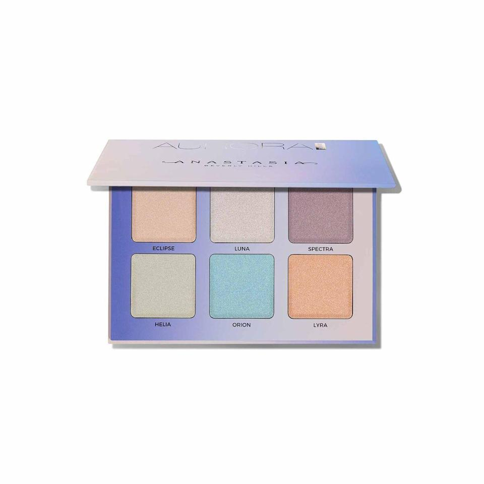 """Creating looks with the ABH Glow palette took me back to the Lisa Frank and Rose Art days of my childhood (truly, a simpler time). Each of the four shades took me well out of my comfort zone. It's a great palette for creating warm or cool intergalactic looks. The color payoff commands your attention, and the shimmer holds up to hours of wear without going silver or tinny. If you have deep brown skin and have been burned by ashy pastel highlighters in the past, rest easy when it comes to this one. <em>—Brionna Jimerson, associate social media manager</em> $40, Anastasia Beverly Hills. <a href=""""https://www.anastasiabeverlyhills.com/glow-kit-aurora/ABH01-18163.html"""" rel=""""nofollow noopener"""" target=""""_blank"""" data-ylk=""""slk:Get it now!"""" class=""""link rapid-noclick-resp"""">Get it now!</a>"""