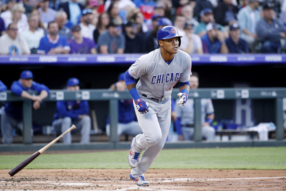 DENVER, CO - JUNE 11: Addison Russell #27 of the Chicago Cubs runs after hitting the ball during a game against the Colorado Rockies at Coors Field on June 11, 2019 in Denver, Colorado. The Rockies won 10-3. (Photo by Joe Robbins/Getty Images)