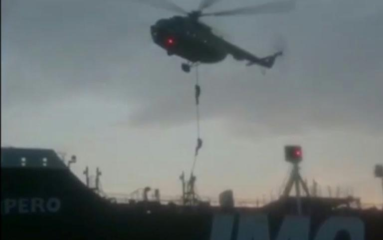 This image grab taken from a video provided by Iran's Revolutionary Guard official website via SEPAH News on July 20, 2019, allegedly shows Revolutionary Guard Corps boarding the British-flagged tanker Stena Impero in the Strait of Hormuz