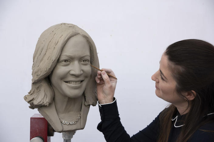 The clay head of Vice President Kamala Harris that will be used to make a wax figure. (Madame Tussauds / Madame Tussauds)