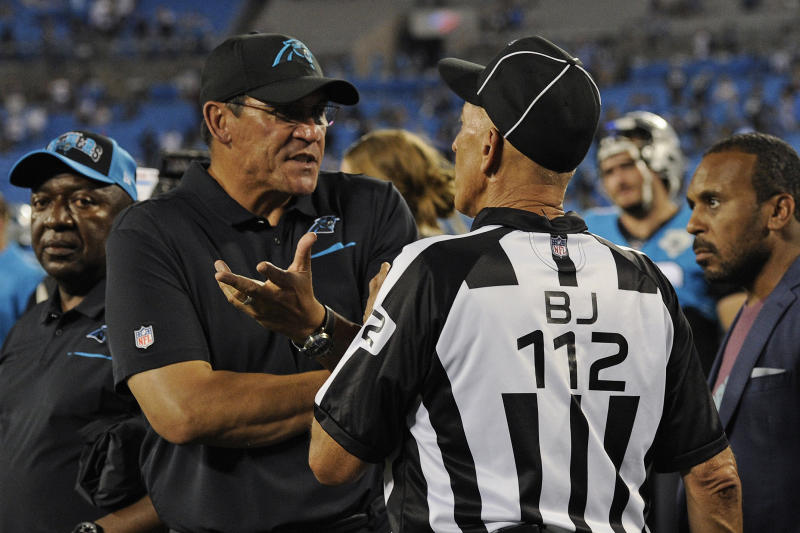 Carolina Panthers head coach Ron Rivera argues with an official. (AP)