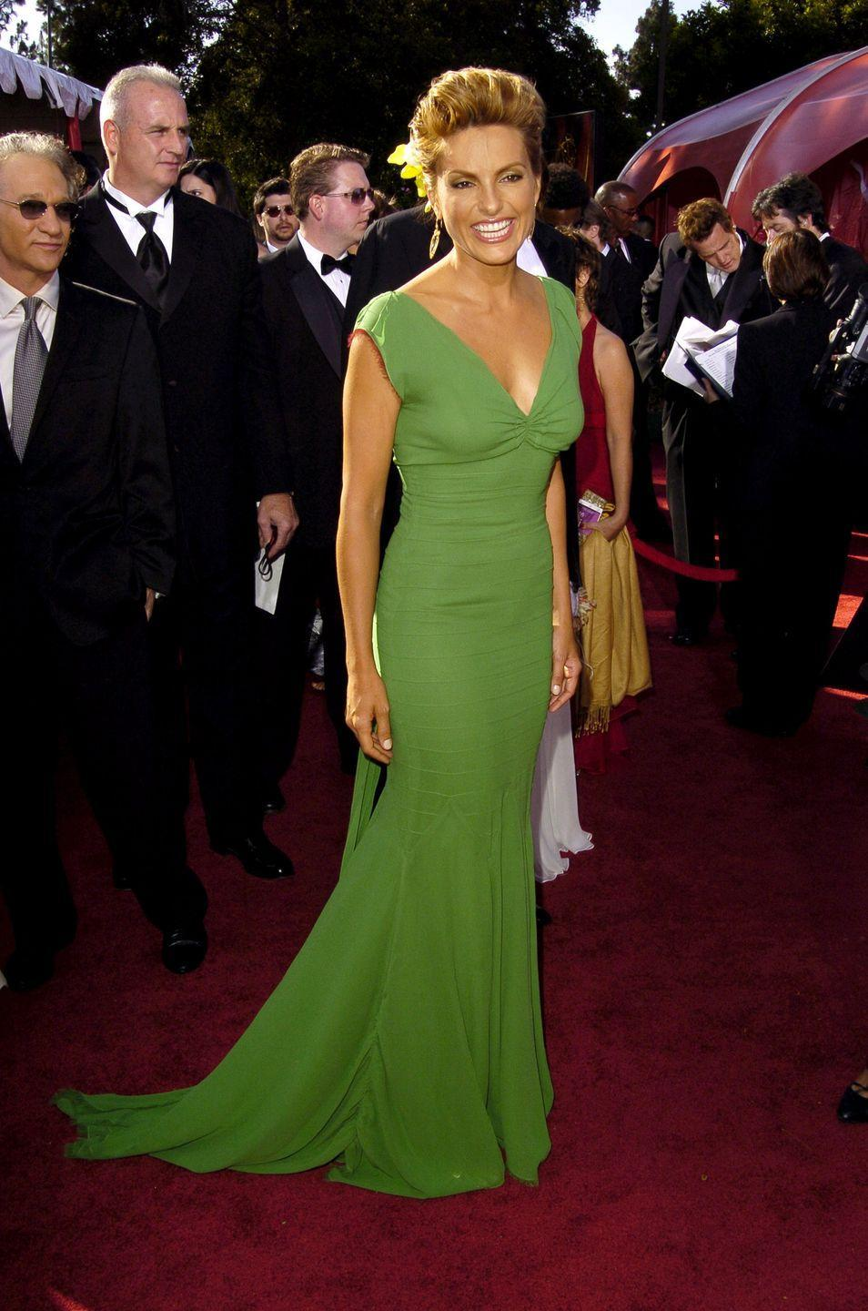 <p>Hargitay looked elegantly tropical in her bright green dress, which she accessorized with a yellow flower in her hair, at the 2004 Emmy Awards. </p>