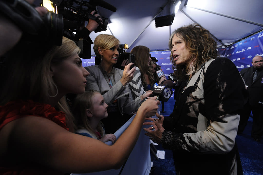 "Steven Tyler on the blue carpet of the Season 11 ""<a href=""http://tv.yahoo.com/american-idol/show/34934"">American Idol</a>"" Top 13 Finalists Party on Thursday, March 1 at The Grove in Los Angeles, CA."