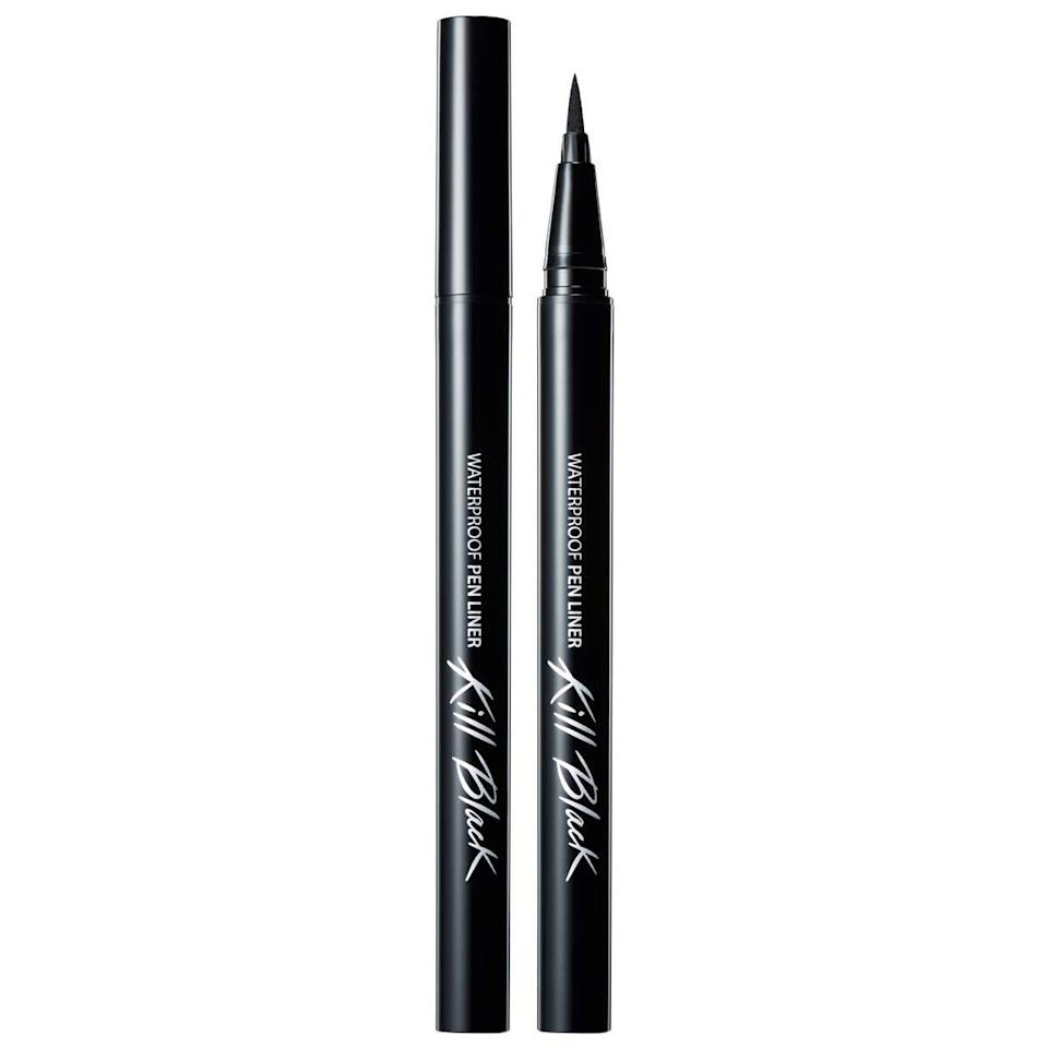 "It's not off-base to say that Clio's Waterproof Pen Liner is capable of drawing some of the sharpest <a href=""https://www.allure.com/story/cat-eye-makeup-tips?mbid=synd_yahoo_rss"" rel=""nofollow noopener"" target=""_blank"" data-ylk=""slk:cat eyes"" class=""link rapid-noclick-resp"">cat eyes</a> known to humankind. The soft felt tip is flexible yet precise and never tugs on delicate eyelids — and once it's on, it <a href=""https://www.allure.com/gallery/best-long-wear-liquid-eyeliners?mbid=synd_yahoo_rss"" rel=""nofollow noopener"" target=""_blank"" data-ylk=""slk:won't budge"" class=""link rapid-noclick-resp"">won't budge</a> until you're ready to take it off. Choose between six shades like classic black (pictured above) and a variety of brownish shades, including a softer pinky-brown, and consider your daily makeup staple upgraded. $15, Amazon. <a href=""https://www.amazon.com/Waterproof-Liner-Black-fl-oz-BLACK/dp/B07F3RZ7KL"" rel=""nofollow noopener"" target=""_blank"" data-ylk=""slk:Get it now!"" class=""link rapid-noclick-resp"">Get it now!</a>"