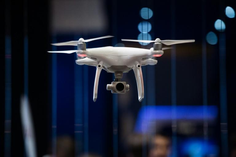 A drone flies during the Mobile World Congress on the third day of the MWC in Barcelona, on March 1, 2017