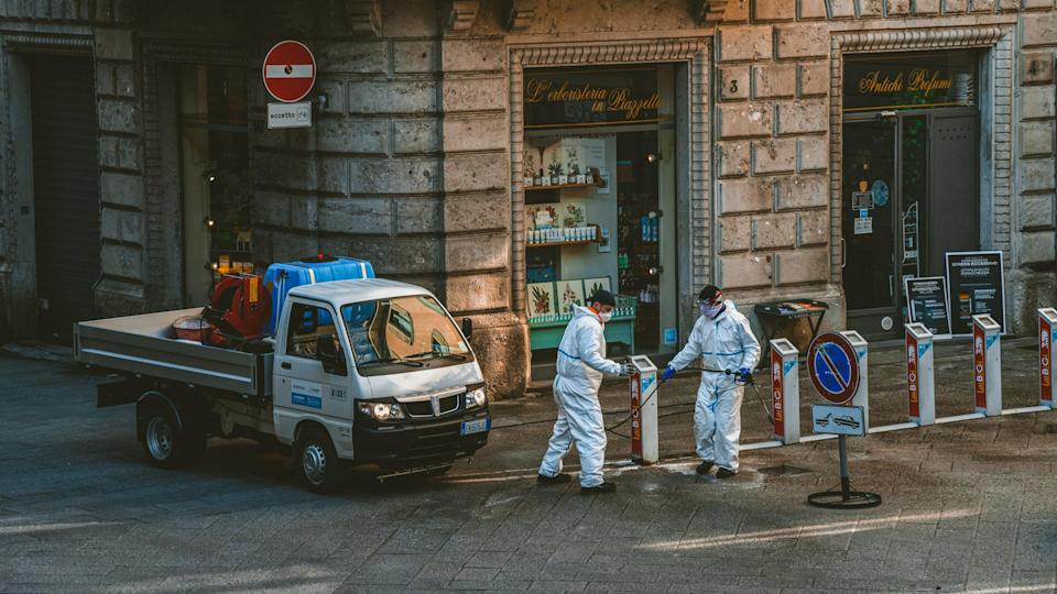 Bergamo, Italy - 2nd April, 2020 - Meticulous disinfection and decontamination on the streets as a prevention against Coronavirus disease (SARS-Cov-2), COVID-19 outbreak.