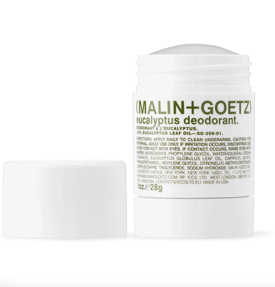 "<p>Malin + Goetz Eucalyptus Deodorant is a great <a href=""https://www.allure.com/gallery/best-deodorant-reviews?mbid=synd_yahoo_rss"" rel=""nofollow noopener"" target=""_blank"" data-ylk=""slk:aluminum-free option"" class=""link rapid-noclick-resp"">aluminum-free option</a> that glides onto skin clear and doesn't leave any pesky signs of residue as you go about your day. As a bonus, it has a refreshing herbal scent derived from eucalyptus and citronellal extracts to keep odors at bay.</p> <p><strong>$22</strong> (<a href=""https://www.amazon.com/Malin-Goetz-Deodorant-Eucalyptus-2-6/dp/B003554PYO"" rel=""nofollow noopener"" target=""_blank"" data-ylk=""slk:Shop Now"" class=""link rapid-noclick-resp"">Shop Now</a>)</p>"