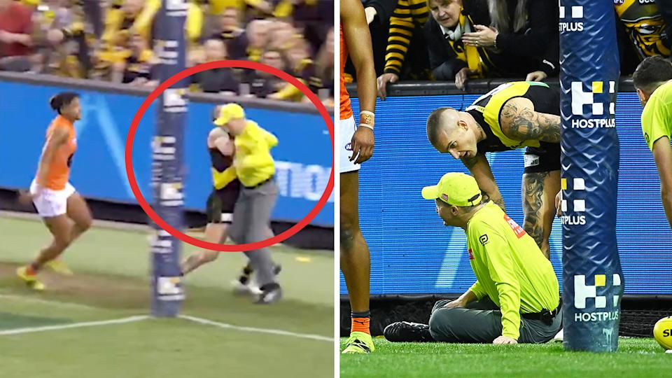 Umpire Adam Wojcik (pictured left) getting bundled over by Dustin Martin and (pictured right) on the floor.