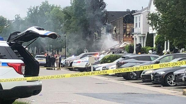 PHOTO: Police tape blocks the scene of a 2 alarm fire and police involved shooting with multiple fatalities in the Woodlawn area of Baltimore, May 8, 2021. (WMAR)