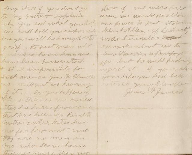 Rare letter by infamous outlaw Jesse James to hit the auction block