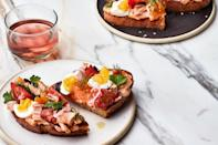 """When you serve Niçoise on toast, it's the perfect summer starter. Each piece gets a slick of garlic and vinegar-spiked paprika mayo, which definitely makes everything better. <a href=""""https://www.epicurious.com/recipes/food/views/nicoise-toast?mbid=synd_yahoo_rss"""" rel=""""nofollow noopener"""" target=""""_blank"""" data-ylk=""""slk:See recipe."""" class=""""link rapid-noclick-resp"""">See recipe.</a>"""