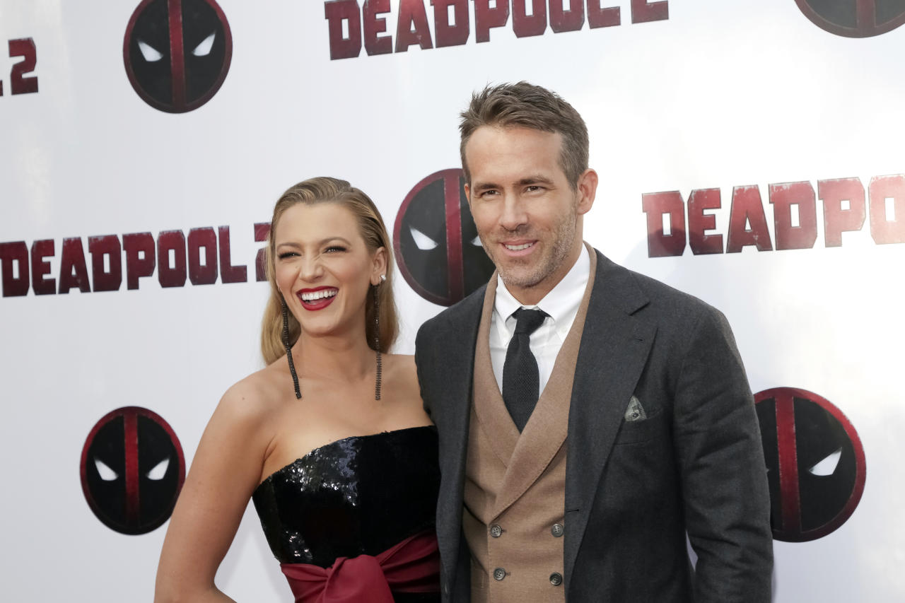 "Actors Blake Lively, left, and Ryan Reynolds attend a special screening of ""Deadpool 2"" at AMC Loews Lincoln Square on Monday, May 14, 2018, in New York. (Photo by Brent N. Clarke/Invision/AP)"