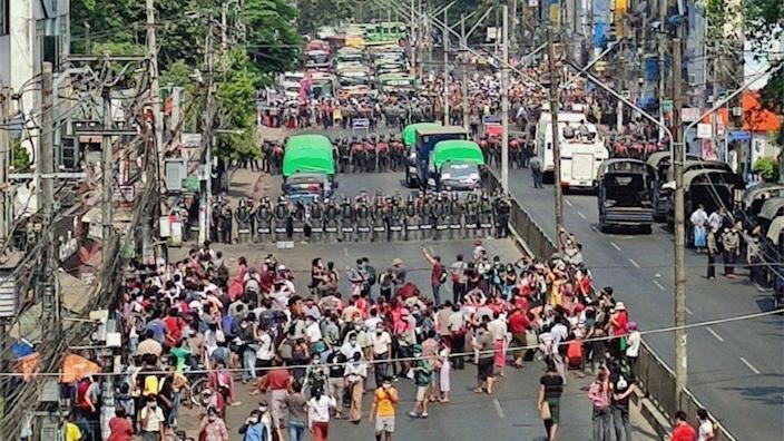 A demonstration against the military coup in Yangon, Myanmar