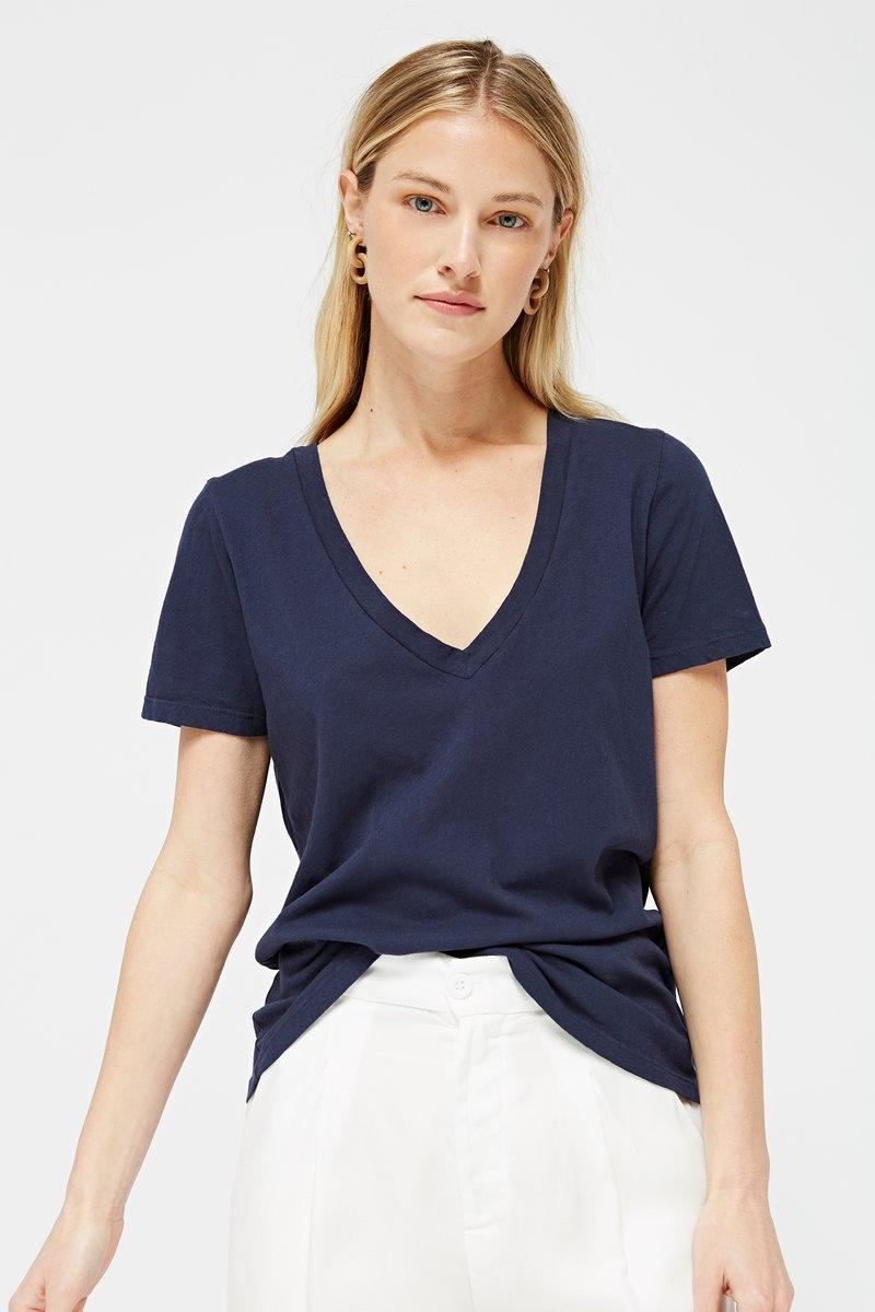 """Support <a href=""""https://www.glamour.com/story/sustainable-fashion-brands?mbid=synd_yahoo_rss"""" rel=""""nofollow noopener"""" target=""""_blank"""" data-ylk=""""slk:ethical manufacturing"""" class=""""link rapid-noclick-resp"""">ethical manufacturing</a> when you buy something from Lacausa. The L.A.-based brand makes its signature tees (like this one) in local factories, and each season a portion of proceeds go to <a href=""""https://fave.co/2VRUZgY"""" rel=""""nofollow noopener"""" target=""""_blank"""" data-ylk=""""slk:partner charities"""" class=""""link rapid-noclick-resp"""">partner charities</a>. $54, Lacausa. <a href=""""https://www.lacausaclothing.com/collections/under-75/products/classic-v-whitewash"""" rel=""""nofollow noopener"""" target=""""_blank"""" data-ylk=""""slk:Get it now!"""" class=""""link rapid-noclick-resp"""">Get it now!</a>"""