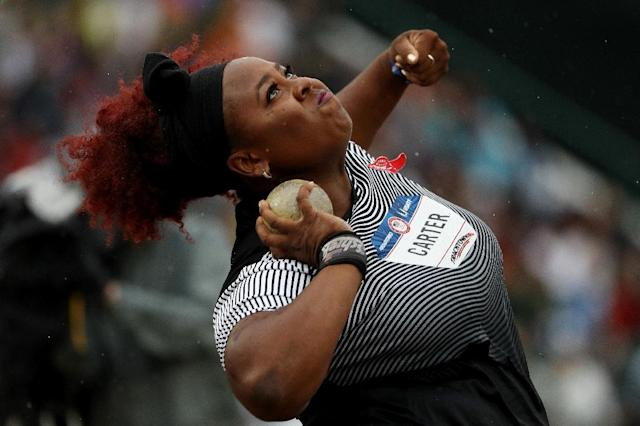 Michelle Carter competes on her way to placing first in the Women's Shot Put Final during the 2016 U.S. Olympic Track & Field Team Trials at Hayward Field on July 7, 2016 in Eugene, Oregon (AFP Photo/Patrick Smith)