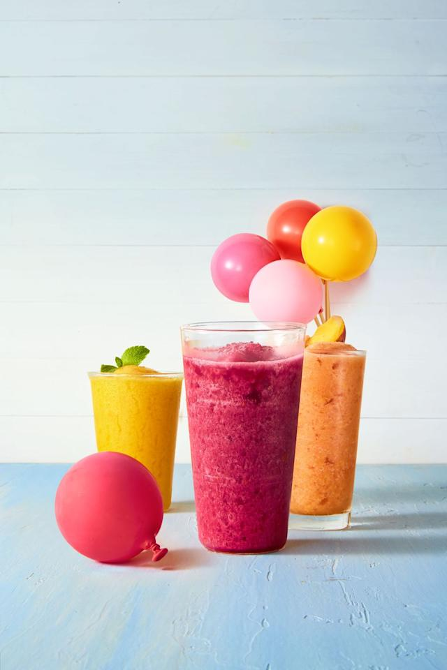 "<p>Enjoy a refreshing slushie in minutes with only four ingredients. You'll need ice, water, frozen limeade, and the frozen fruit of your choice. We are loving raspberries, peaches, or mangos for this drink.</p><p><strong>RELATED:</strong> <a href=""https://www.goodhousekeeping.com/home/craft-ideas/g20967550/summer-crafts/"">20 Summer Crafts to Entertain Kids on Rainy Days</a></p>"