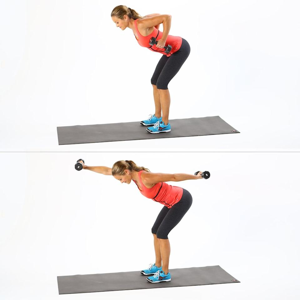 <ul> <li>Stand with your feet hip-distance apart. Bend your elbows behind you, keeping your upper arms even with your back.</li> <li>Bend your knees to come into a half squat while creasing at your hips so your spine is almost parallel to the floor. Keep your spine neutral with your pelvis and head forming one long line.</li> <li>As you exhale, simultaneously extend your right arm straight out in front of you and your left arm straight behind you. Rotate both wrists so your front palm is down and your back palm is up.</li> <li> With control, return to the starting position and repeat on the other side. This completes one rep.</li> </ul>