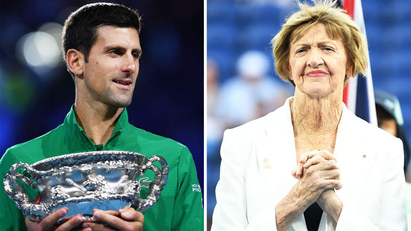 Novak Djokovic (pictured left) smiling after winning the Australian Open and Margaret Court (pictured right).