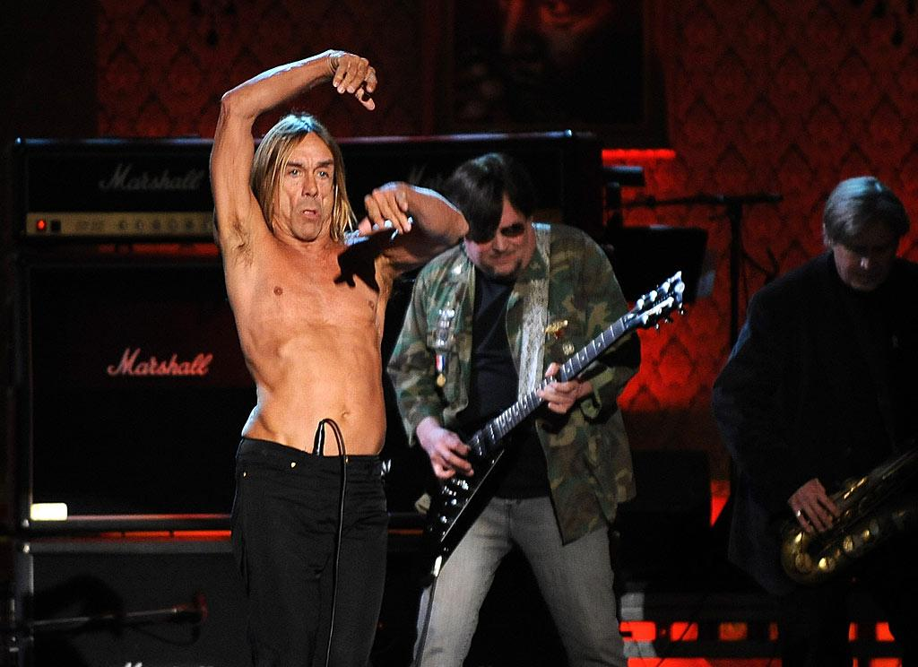 "Iggy Pop gets into the groove while performing punk versions of two Madonna classics: ""Burning Up"" and ""Ray of Light."" Dimitrios Kambouris/<a href=""http://www.wireimage.com"" target=""new"">WireImage.com</a> - March 10, 2008"