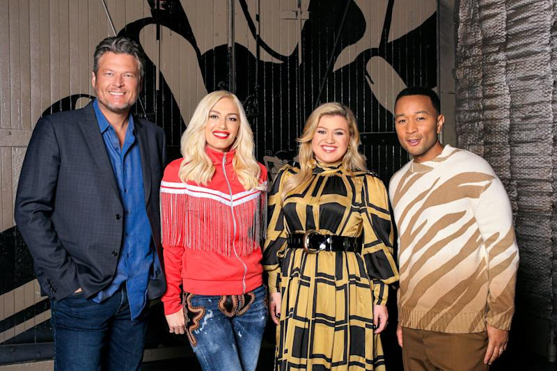 Blake Shelton, Gwen Stefani, Kelly Clarkson, and John Legend from The Voice'