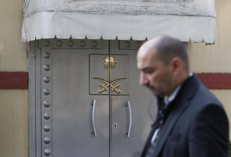 Security personnel guard Saudi Arabia's consulate in Istanbul, Monday, Oct. 22, 2018. ((AP Photo/Lefteris Pitarakis))