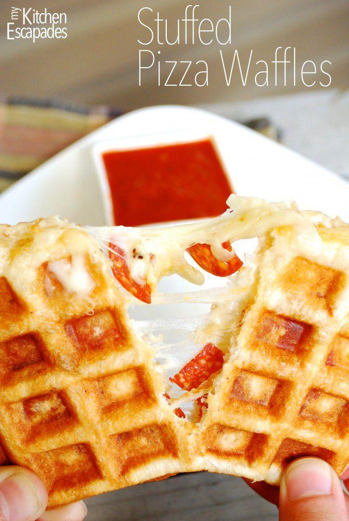 """<p>You don't need a pizza oven to enjoy your favorite slice.</p><p>Get the recipe from <a rel=""""nofollow noopener"""" href=""""http://www.mykitchenescapades.com/2014/06/stuffed-pizza-waffles.html"""" target=""""_blank"""" data-ylk=""""slk:My Kitchen Escapades"""" class=""""link rapid-noclick-resp"""">My Kitchen Escapades</a>.</p>"""