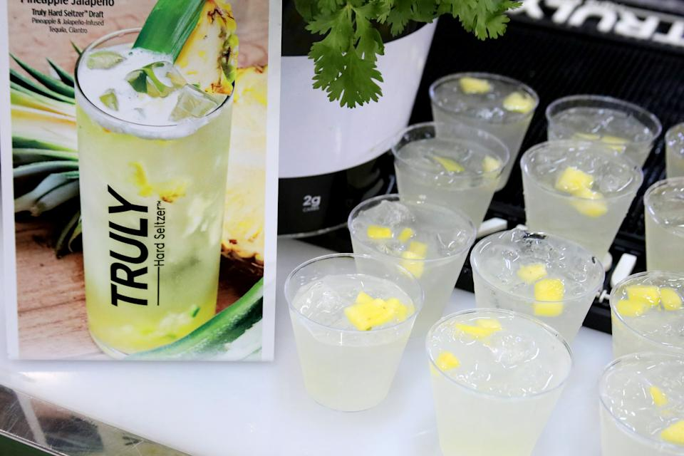 NEW YORK, NEW YORK - OCTOBER 13: A view of Truly: Hard Seltzer products during the Grand Tasting presented by ShopRite featuring Culinary Demonstrations at The IKEA Kitchen presented by Capital One at Pier 94 on October 13, 2019 in New York City. (Photo by Rob Kim/Getty Images for NYCWFF)