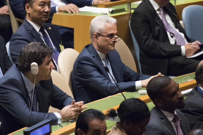 <p>Members of the Iranian delegation listen as President Trump speaks during the 72nd session of the United Nations General Assembly at U.N. headquarters, Tuesday, Sept. 19, 2017. (Photo: Mary Altaffer/AP) </p>