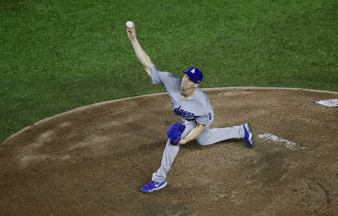 Los Angeles Dodgers pitcher Walker Buehler fired six no-hit innings against the Padres Friday night. (AP)