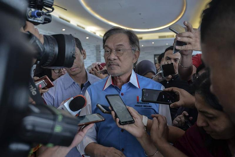 PKR leader Datuk Seri Anwar Ibrahim speaks to reporters during the PKR retreat in Port Dickson July 20, 2019. ― Picture by Shafwan Zaidon