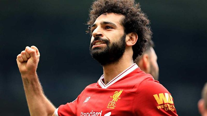 Salah celebrates record-equalling goal. Pic: Getty