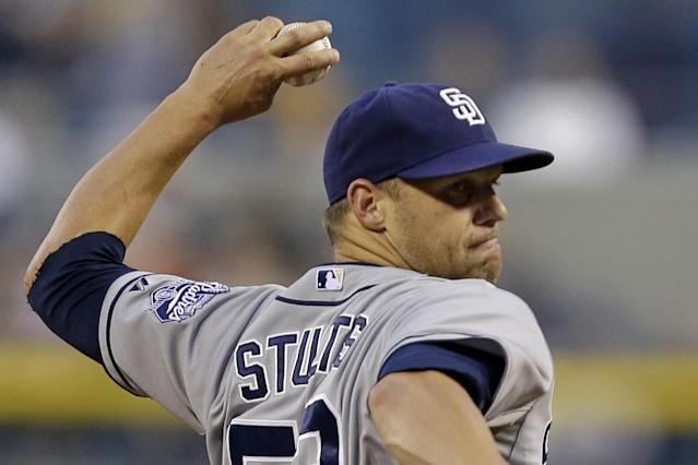 San Diego Padres starting pitcher Eric Stults delivers during the first inning of a baseball game against the Pittsburgh Pirates in Pittsburgh, Tuesday, Sept. 17, 2013. (AP Photo/Gene J. Puskar)