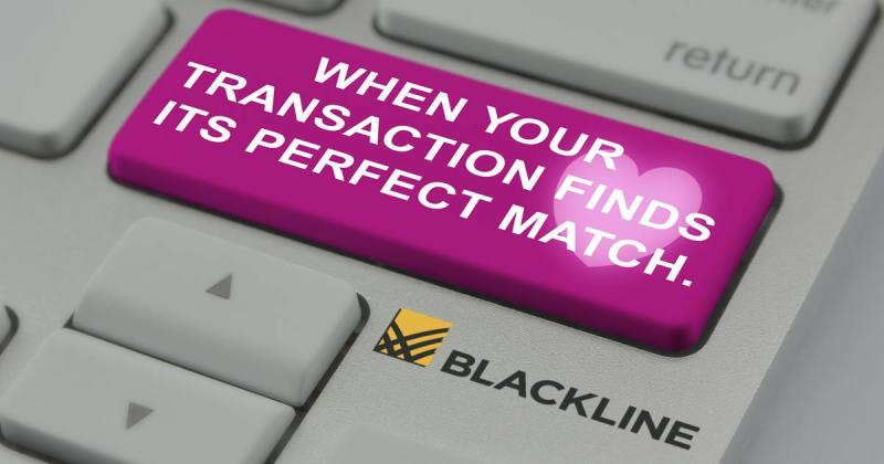 """A keyboard button with the inscription """"When your transaction finds its perfect match -- BlackLine."""