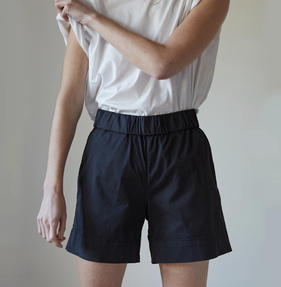 """<p>Looking to stock up on clothes that you'll wear well beyond work-from-home life? Well, digital deputy editor Kara McGrath has a suggestion for you. She still plans on wearing a lot of bike shorts during the summer (as she did exclusively last year), but decided to search for some shorts that are """"a little more elevated, in case we ever start having in-person meetings again,"""" she says. </p> <p>Everlane's pull-on The Easy Chino Long Short fits that exact bill, since """"they have an extremely comfortable thick elastic waistband, but are made of stiff cotton that totally works for fancier occasions."""" They're currently available in sizes 00 to 16 and two colors, washed black and amber. <br> <br> <strong>$48</strong> (<a href=""""https://www.everlane.com/products/womens-easy-modern-chino-short-washed-black?collection=womens-lounge"""" rel=""""nofollow noopener"""" target=""""_blank"""" data-ylk=""""slk:Shop Now"""" class=""""link rapid-noclick-resp"""">Shop Now</a>)</p>"""