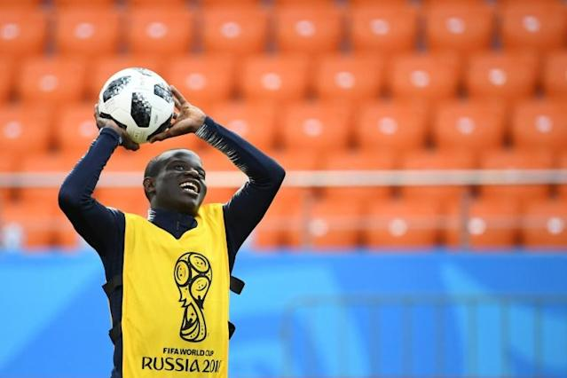 France's midfielder N'Golo Kante was omnipresent as he mopped up in front of his overworked back four