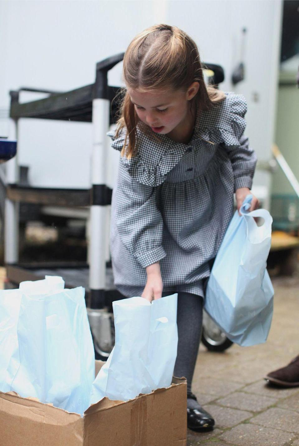 <p>The pictures were taken in April 2020 on the Sandringham Estate, and they show Princess Charlotte volunteering during the coronavirus crisis.</p>